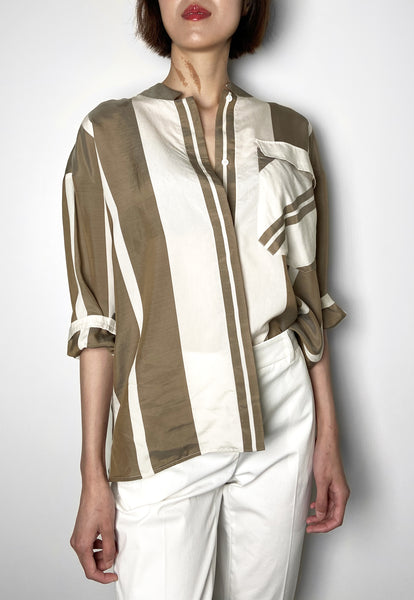 Lorena Antoniazzi Caramel Mandarin Collar Striped Blouse