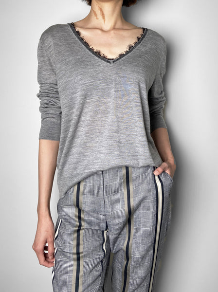 Dorothee Schumacher Grey Lace Trim Pullover