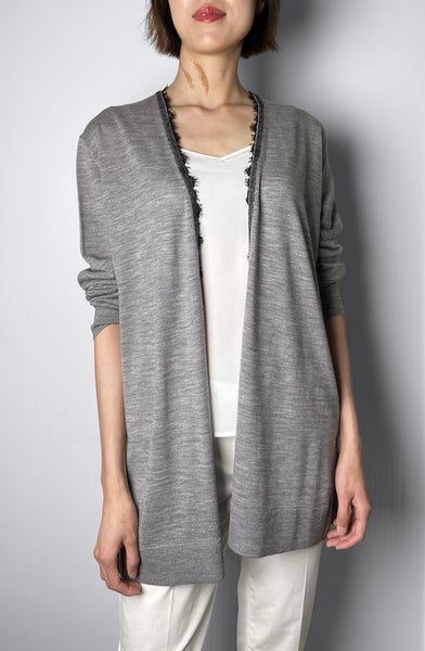 Dorothee Schumacher Grey Lace Trim Cardigan