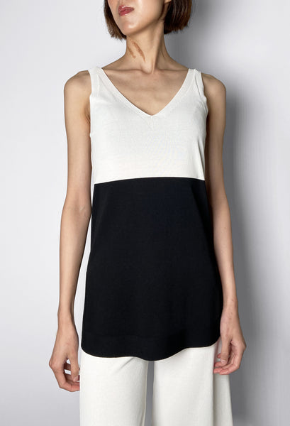 D. Exterior Black and White Colour Block Tank Top