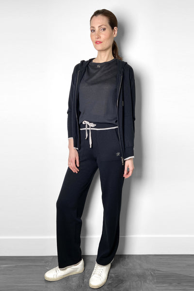 Lorena Antoniazzi Navy Cashmere Jogger Pants. (Last One, Size 38)