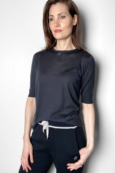 Lorena Antoniazzi Navy Fine Knit Top With Star Detail