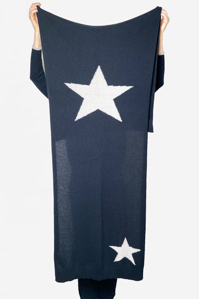 Lorena Antoniazzi Navy Cashmere Scarf with Star Pattern