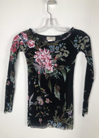 Fuzzi Black Floral Print Shirt with Sequin