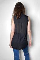L'Agence Black Sheer Blouse with Blouson