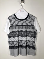 Red Valentino White T-Shirt with Black Lace