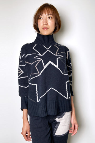 Lorena Antoniazzi Navy Star Print Turtleneck Sweater