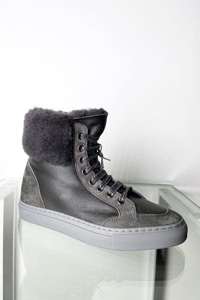 Lorena Antoniazzi Charcoal Grey Leather High Top