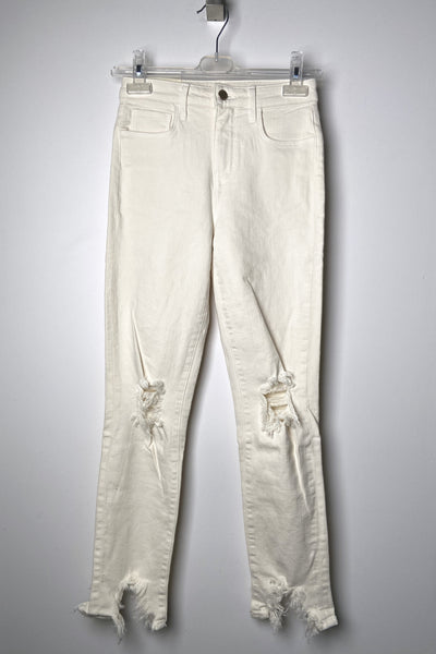 "L'Agence ""Vintage White"" High Line Distressed Jeans"