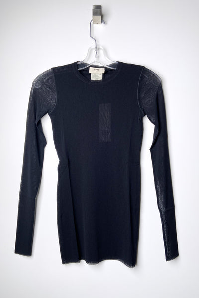 Fuzzi Black Crew Neck Top