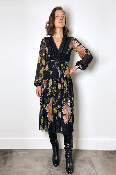 Fuzzi Floral Dress with Lace V-Neck