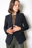 L'Agence Double Breasted Blazer with Gold Buttons