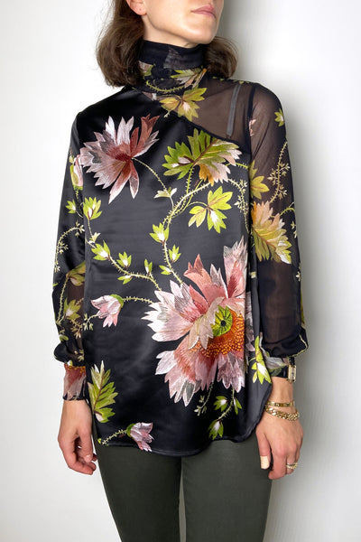 Fuzzi Black Floral Satin-Tulle Turtleneck