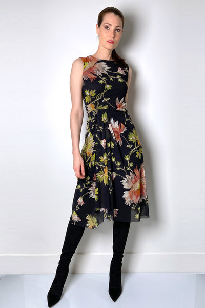 Fuzzi Sleeveless Black Floral Print Dress
