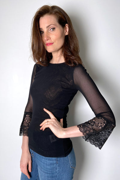 Fuzzi Black Tulle Top with Lace Arms
