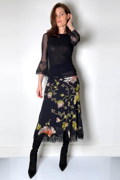Fuzzi Floral Lace Skirt