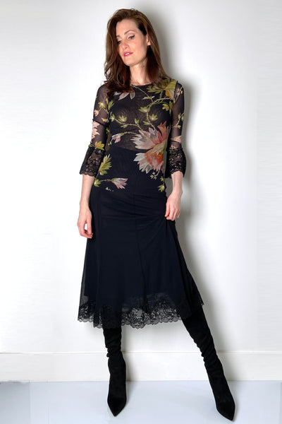Fuzzi Black Lace Skirt