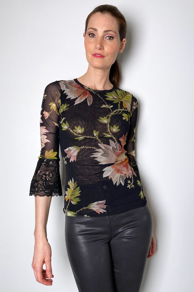 Fuzzi Floral Tulle Top with Lace Arms