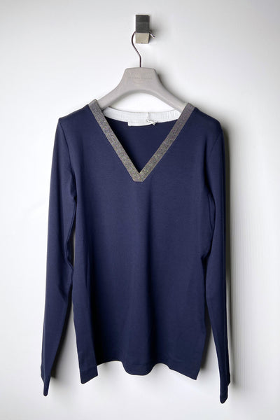 Fabiana Filippi Navy Knit Shirt with Brilliant V-Neck