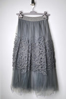 Fabiana Filippi Grey Tulle Skirt with Embroidery
