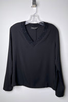 Fabiana Filippi Black Silk Shirt with Brilliant V-Neck