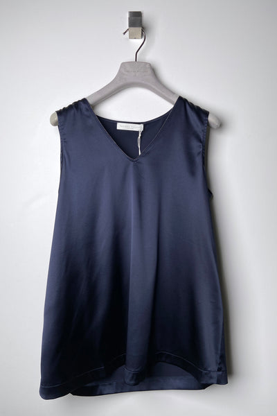 Fabiana Filippi Navy Silk V-Neck with Brilliant Detail