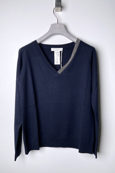 Fabiana Filippi Navy V-Neck Pullover with Brilliant Detail