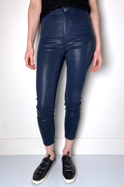 "L'Agence ""Navy"" Margot Coated Jeans"