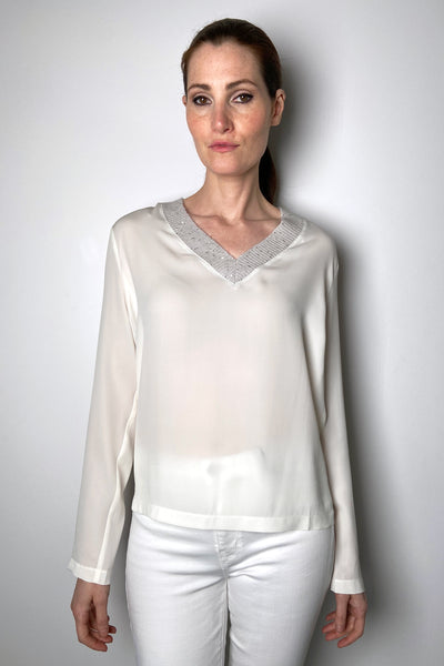 Fabiana Filippi Cream Silk Shirt with Brilliant V-Neck