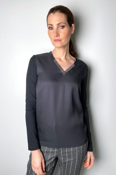 Fabiana Filippi Charcoal Silk Knit Brilliant V-Neck Shirt