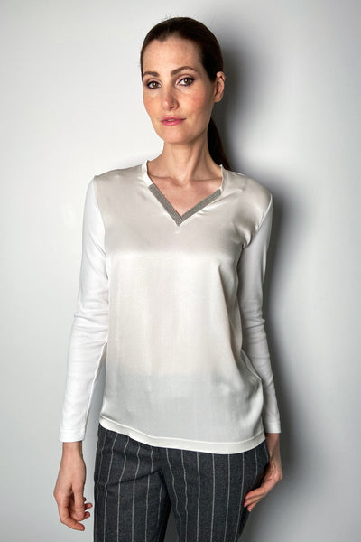 Fabiana Filippi Cream Silk Knit Brilliant V-Neck Shirt