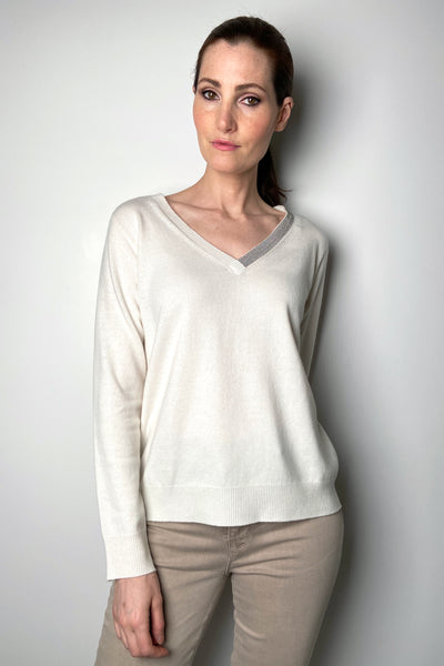 Fabiana Filippi Cream V-Neck Pullover with Brilliant Detail