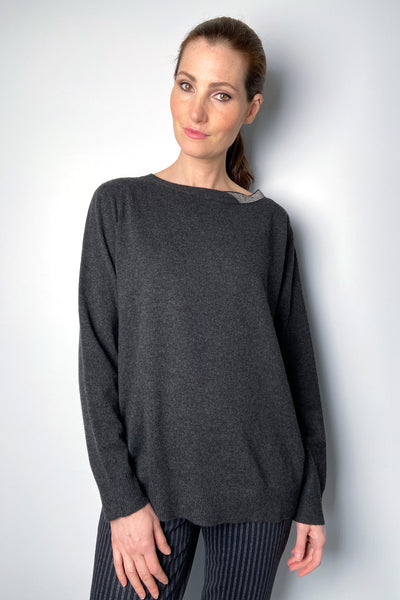 Fabiana Filippi Grey Pullover with Brilliant Boatneck