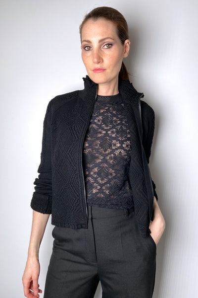 HIGH Textured Black Cardigan with Ruffle Neck Detail