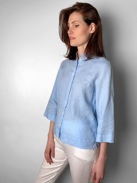 Rosso 35 Blue Linen Top with Mandarin Collar. (Last One, Size 46)