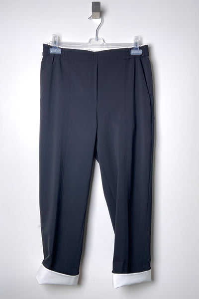 Annette Gortz Black Wool Pants with White Cuff