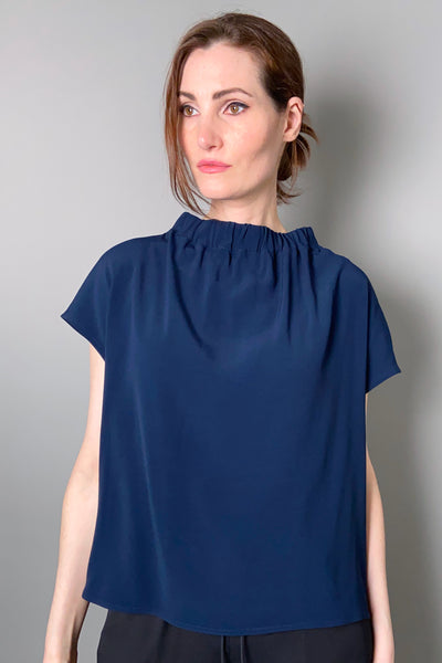 Annette Gortz Blue Ruch Neck Top
