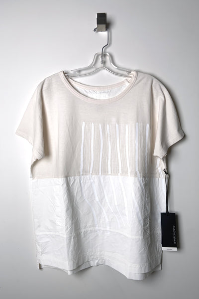 Annette Gortz Cream T-Shirt with White Pattern