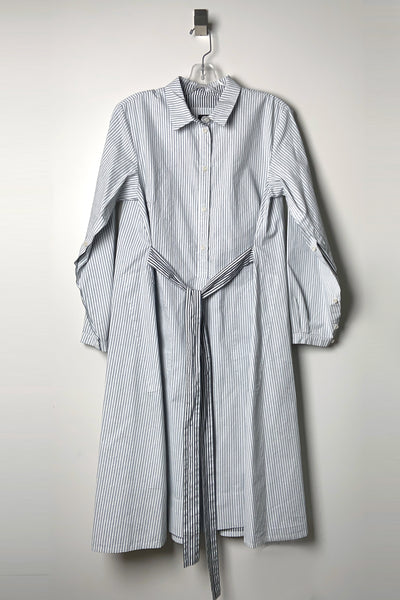 Annette Gortz Grey Stripe Cotton Shirt Dress