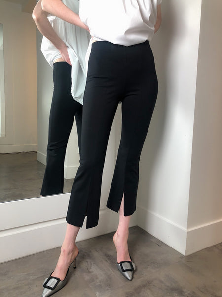 D. Exterior Black Stretch Pants with Slit