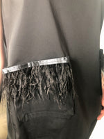 D. Exterior Black Cotton Wide Neck Top with Feather Detail