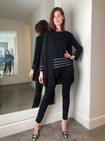 D. Exterior Long Black Cardigan with Transparent Details