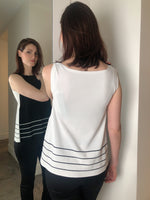 D. Exterior Black/White Tank Top with Stripe Detail