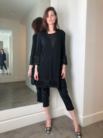 D. Exterior Long Black Cardigan with Tribal Lace Detail
