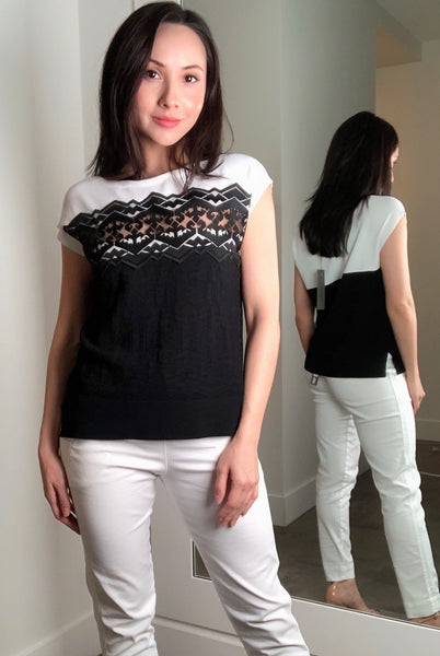 D. Exterior Black and White Tribal Lace Top
