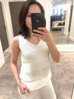D. Exterior White and Cream Knit Tank Top with Sequins