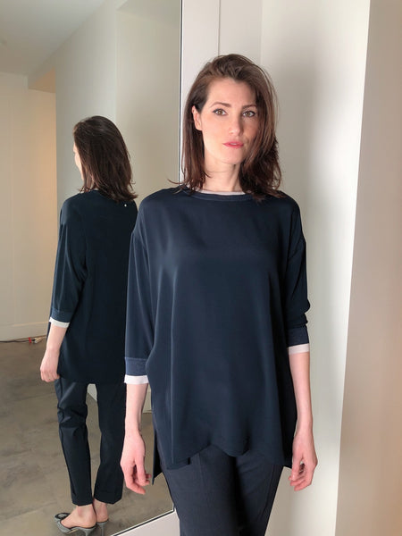 Lorena Antoniazzi Navy Tunic Top. (Last One, Size 38)