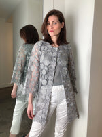 D. Exterior Silver Flower Lace Duster
