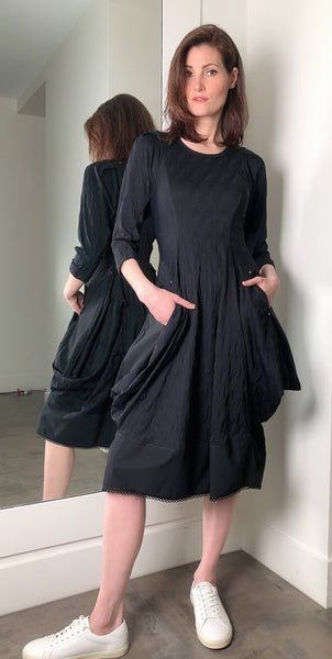 High 3/4 Sleeve Black Dress
