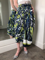 High Navy and Lime Floral Print Skirt. (Last One, Size L)